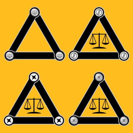 jury box: Set of four flat simple triangles with screws and justice symbol