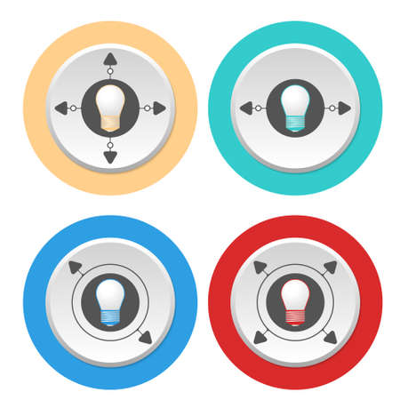 annular: Four circular abstract colored icons and bulb