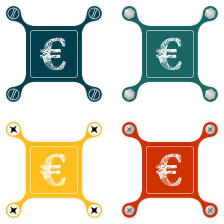 euro screw: Set of four flat simple icons with screws and euro symbol Illustration