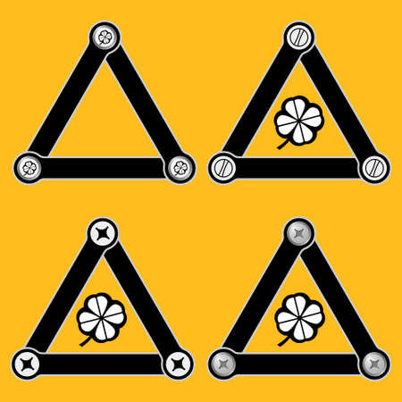 cloverleaf: Set of four flat simple triangles with screws and cloverleaf