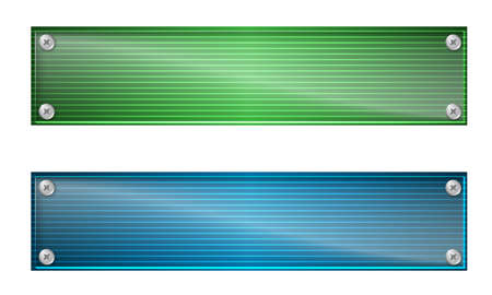glass panel: Set of two banners with lines and glass panel Illustration