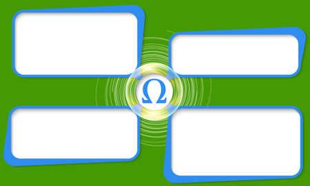 alphabet greek symbols: Four connected frames for your text and omega symbol Illustration
