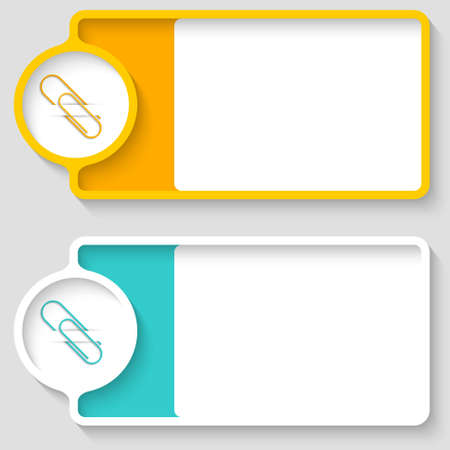paper clip: Colored boxes for your text and paper clip