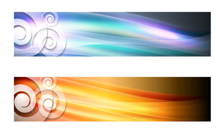 spire: Set of two banners with waves and transparent spirals Illustration