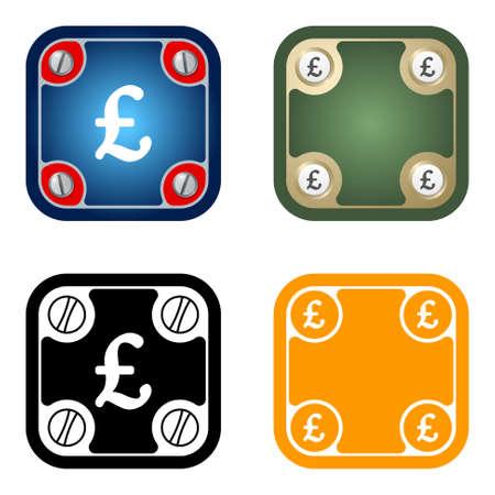 pound sterling: Conjunto de cuatro marcos simples planas y símbolo de la libra esterlina