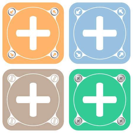 plus symbol: Set of four colored flat simple frames and plus symbol Illustration