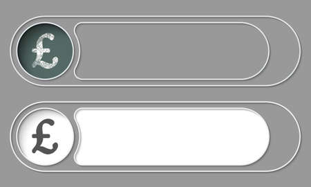libra esterlina: Conjunto de dos botones simples y símbolo de la libra esterlina