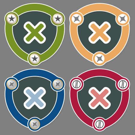 multiplicacion: Conjunto de cuatro iconos planos y símbolo de multiplicación