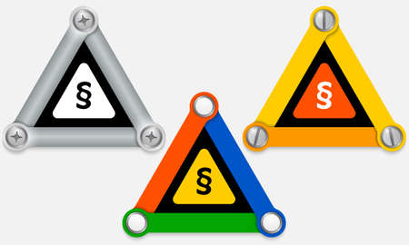 Set of three colored triangles and paragraph