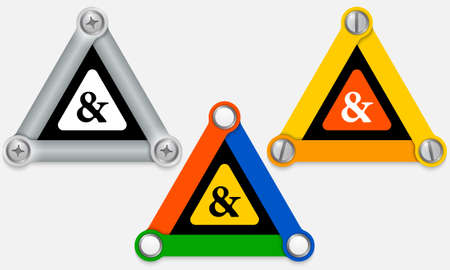 ampersand: Set of three colored triangles and ampersand