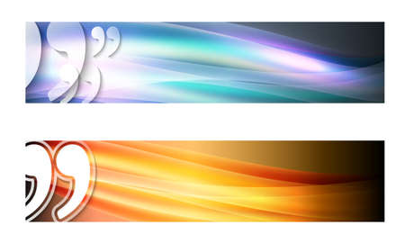 Set of two banners with waves and transparent quotation mark