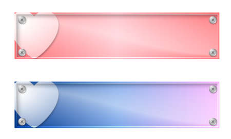 glass panel: Set of two banners with heart and glass panel Illustration