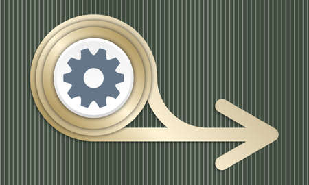 sprockets: Golden abstract arrow and cogwheels Illustration