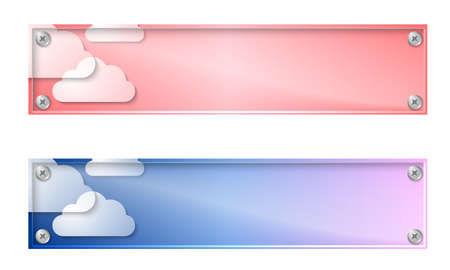 glass panel: Set of two banners with clouds and glass panel