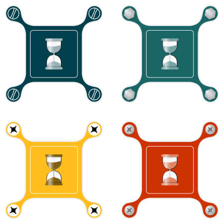 sand glass: Set of four flat simple icons with screws and sand glass Illustration