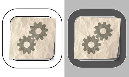 sprockets: set of two icons and crumpled paper with cogwheels Illustration