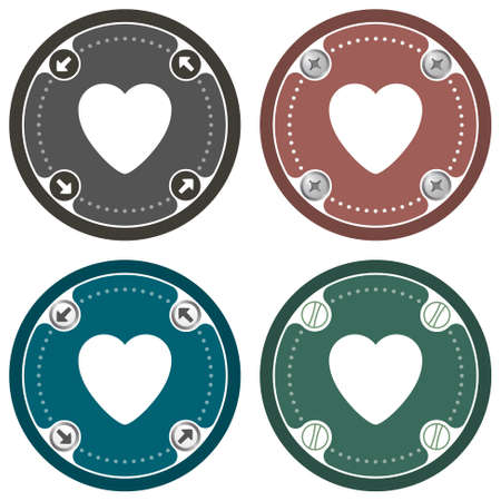 wedding heart: Set of four colored flat icons and heart