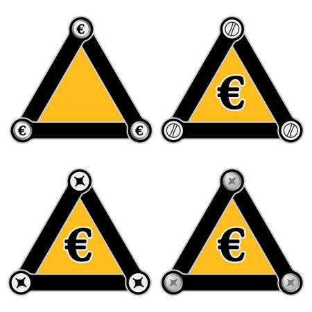 euro screw: Set of four flat simple triangles with screws and euro symbol Illustration