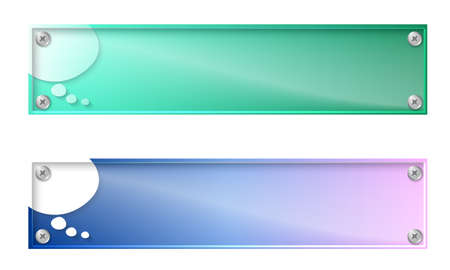 glass panel: Set of two banners with speech bubble and glass panel