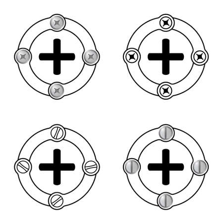 plus symbol: Set of four flat frames and plus symbol