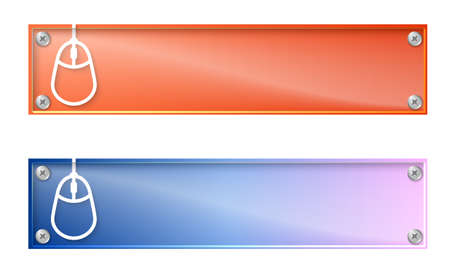 glass panel: Set of two banners with mouse icon and glass panel