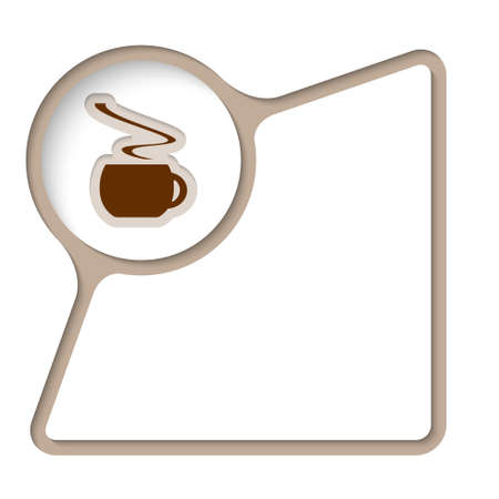 inner: Abstract frame with inner shadow and cup of coffee Illustration