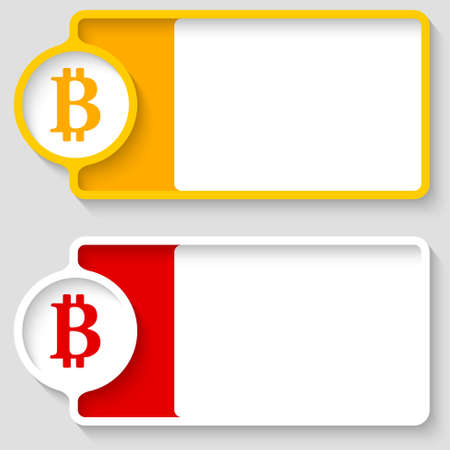 bit: Colored boxes for your text and bit coin symbol Illustration