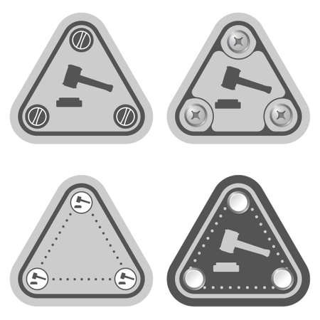 Set of four flat simple triangles and justice symbol