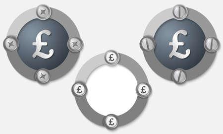 pound sterling: Conjunto de tres iconos abstractos con tornillos y símbolo de la libra esterlina Vectores