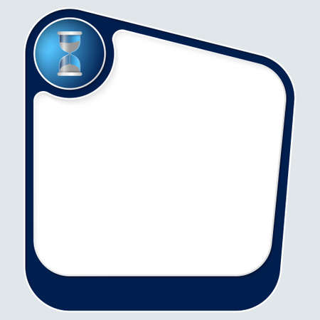 sand glass: Blue box for your text with white frame and sand glass