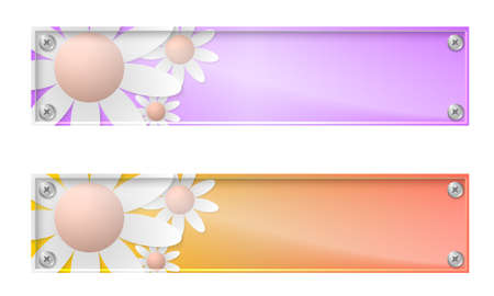 glass panel: Set of two banners with flowers and glass panel