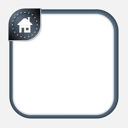 home corner: Abstract frame for your text with dark corner and home symbol