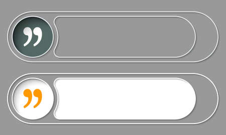 quotation: Set of two simple buttons and quotation mark Illustration