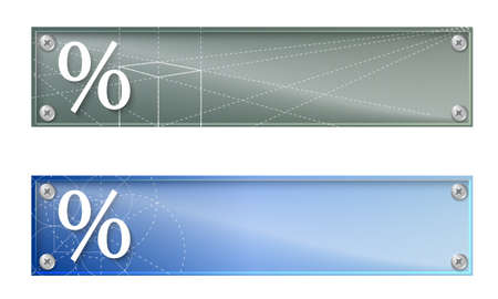 glass panel: Set of two banners with percent symbol and glass panel Illustration