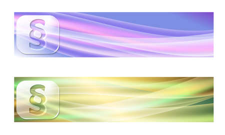 jury box: Set of two banners with waves and transparent paragraph Illustration