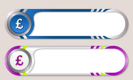 libra esterlina: Botones de vector para el texto y la libra esterlina s�mbolo
