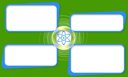 coupled: Four connected frames for your text and science symbol Illustration