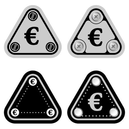 euro screw: Set of four flat simple triangles and euro symbol Illustration