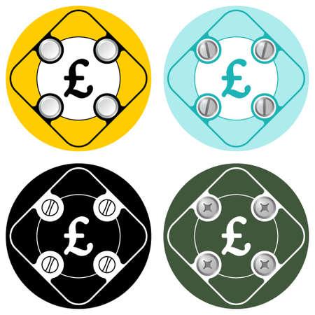 pound sterling: Conjunto de cuatro marcos simples planos de color y símbolo de la libra esterlina