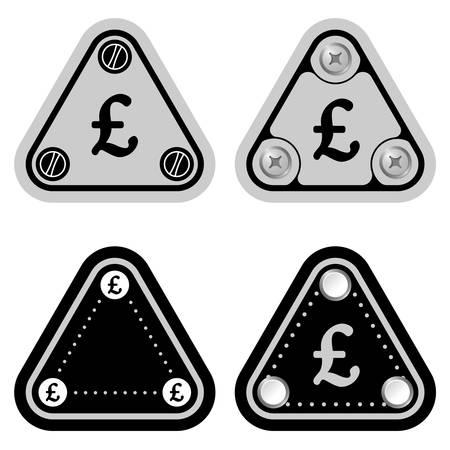 libra esterlina: Conjunto de cuatro tri�ngulos simples planas y s�mbolo de la libra esterlina Vectores