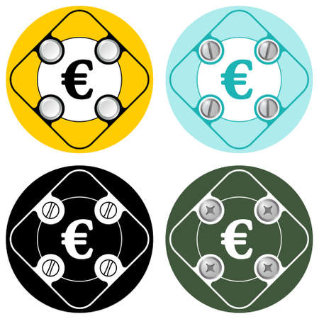 euro screw: Set of four colored flat simple frames and euro symbol