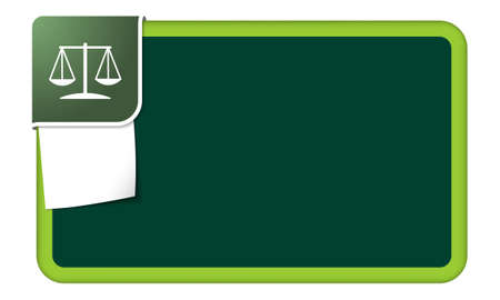 jury box: Abstract frame for your text with green corner and justice symbol