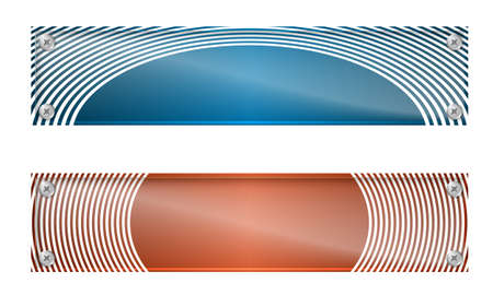 white lines: Set of two banners with white lines and glass panel