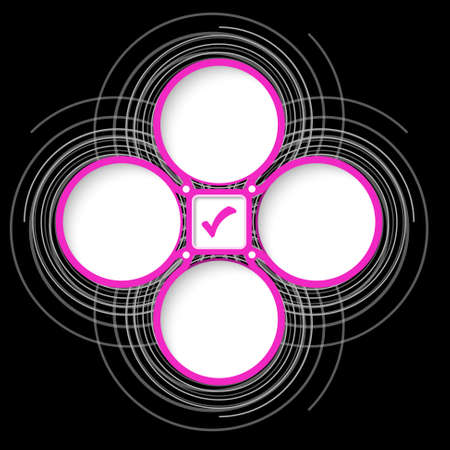 check box: Four colored circular frames for your text and check box Illustration
