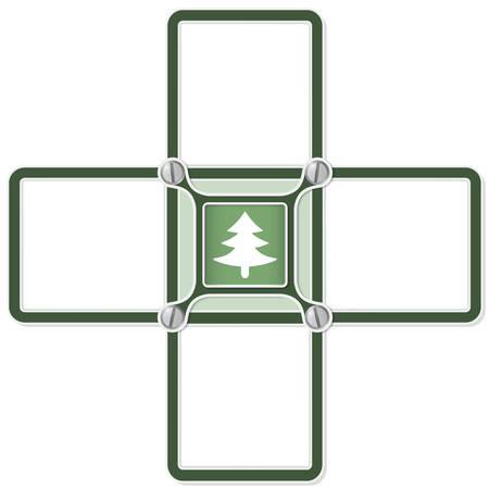 baum symbol: Vier leere Textbereiche und Baumsymbol