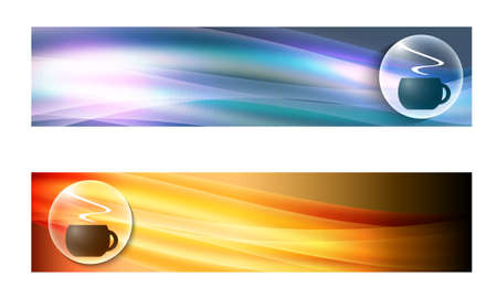 intermission: Set of two banners with waves and cup of coffee Illustration