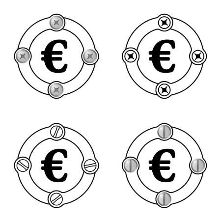 euro screw: Set of four flat frames and euro symbol