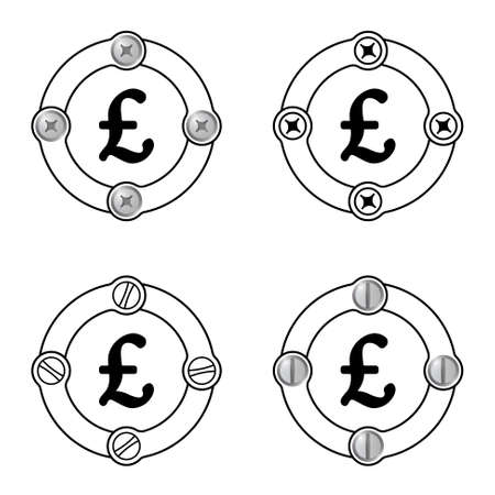 pound sterling: Set of four flat frames and pound sterling symbol Illustration
