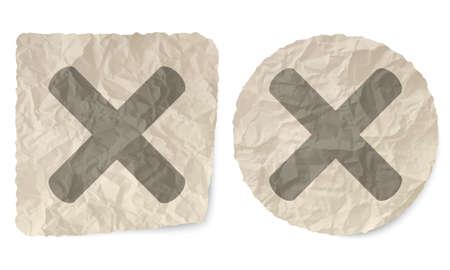 multiplicacion: Deslizamiento arrugado de papel y un símbolo de multiplicación Vectores