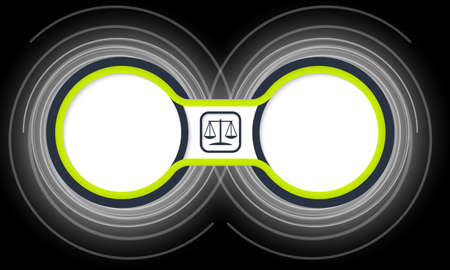 jury box: Two colored circular frames for your text and justice symbol